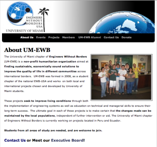 Engineers without Borders - a student organization at the University of Miami